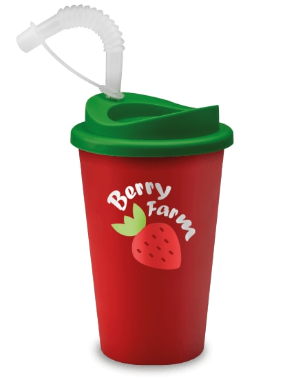 branded reusable mug in red with a straw for hot and cold drinks