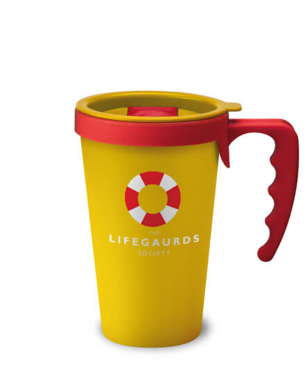 universal mugs printed and reusable coffee mug in yellow with red handles
