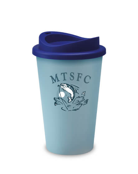 A reusable and recyclable Universal Tumbler Light Blue with Dark Blue Lid