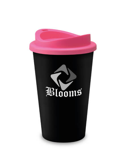 A Reusable Coffee Tumbler Branded with logo and Black Pink