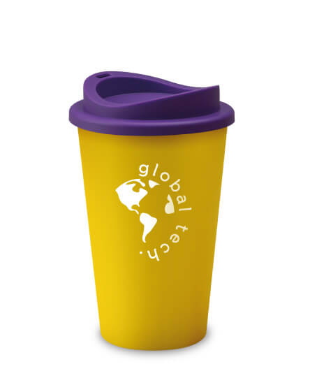 universal mugs printed and branded reusable coffee tumblers in yellow