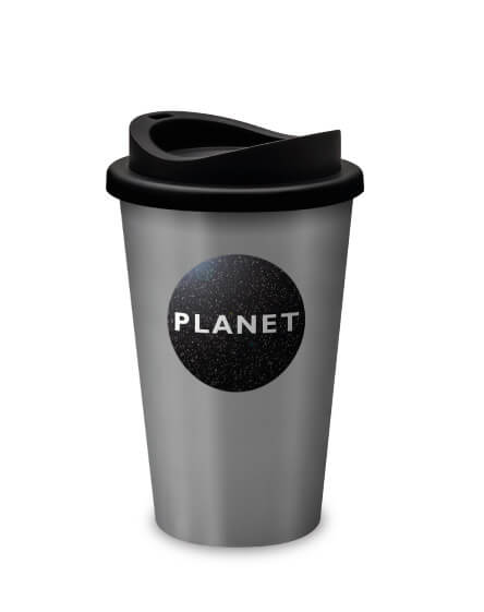 Universal promotional reusable coffee and travel tumblers silver