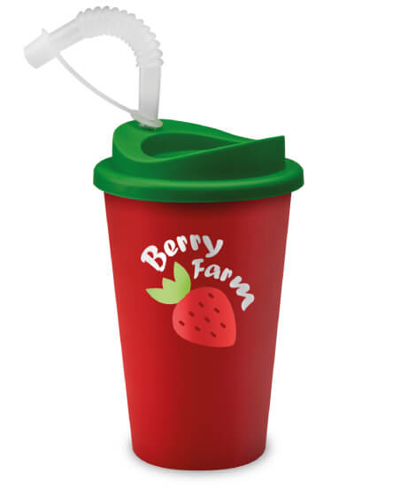 Universal Mugs Branded Tumbler with Straws Reusable Cold Drinks Red