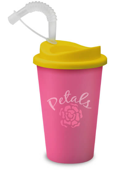 Universal Mugs Printed Tumblers Pink with Straw