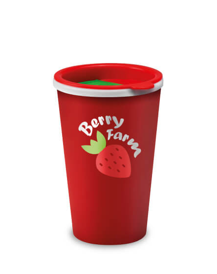 Universal Mugs printed coffee tumbler red sip and slide lid