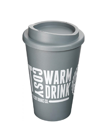 Grey reusable coffee cups Branded