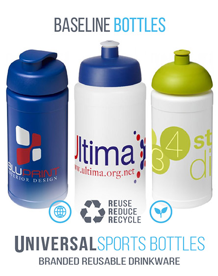 baseline 500ml sports water bottles branded Uk and EU