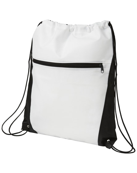 branded contrast non-woven drawstring backpack