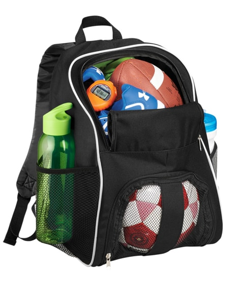 branded goal backpack with mesh footbal compartment
