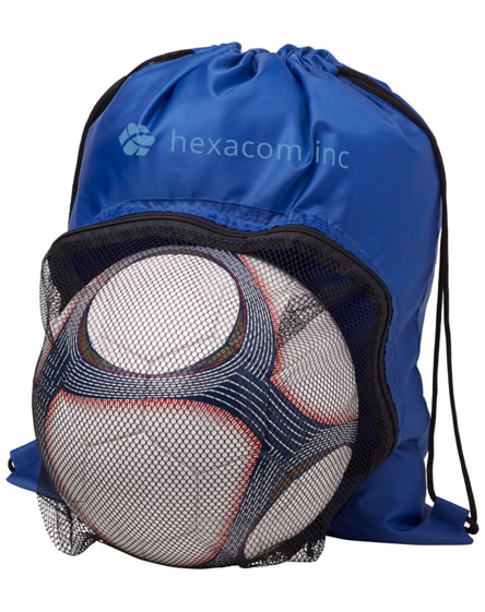 branded goal drawstring backpack with football compartment