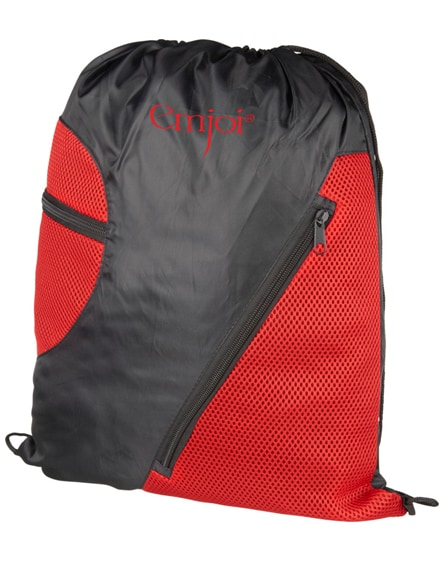 branded kick zippered pockets drawstring backpack