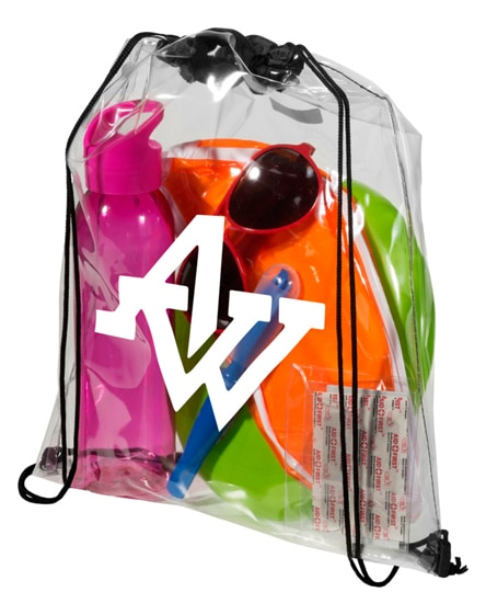 branded lancaster transparent drawstring backpack