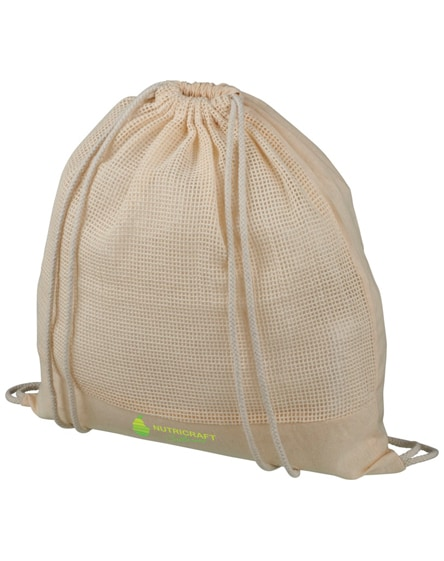 branded maine mesh cotton drawstring backpack