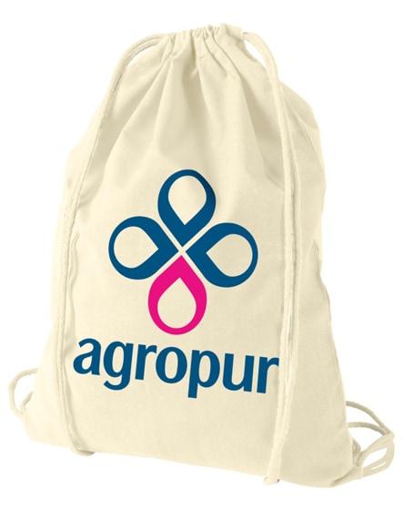 branded oregon 100 g/m² cotton drawstring backpack