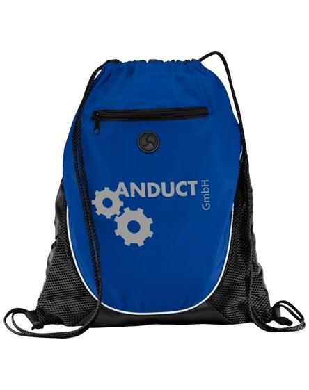 branded peek zippered pocket drawstring backpack
