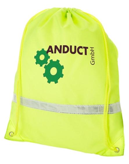 branded premium reflective drawstring backpack
