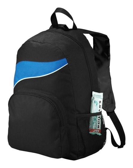 branded tornado zippered front pocket backpack