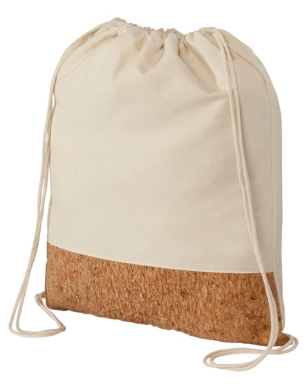 branded woods 175 g/m² cotton and cork drawstring backpack