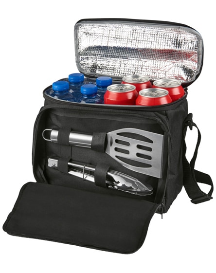 branded mill 2-piece bbq set with cooler bag