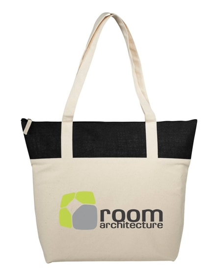 branded jones 407 g/m² zippered cotton and jute tote bag