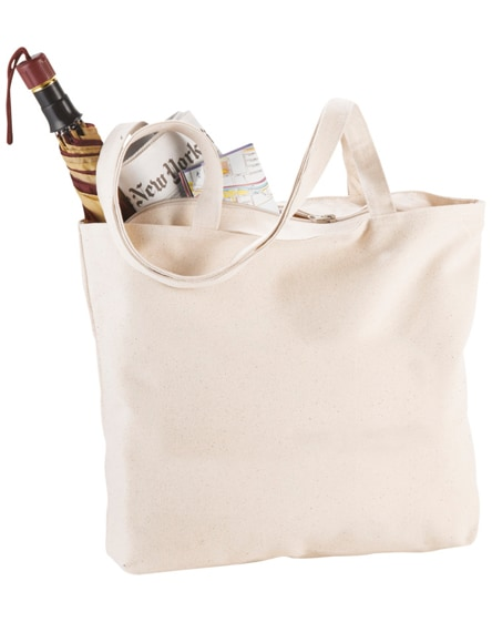 branded ningbo 340 g/m² zippered cotton tote bag