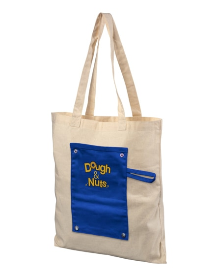 branded snap 180 g/m² roll-up buttoned cotton tote bag