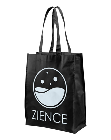branded conessa laminated shopping tote bag
