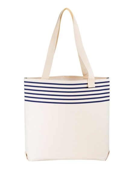 branded freeport striped convention tote bag