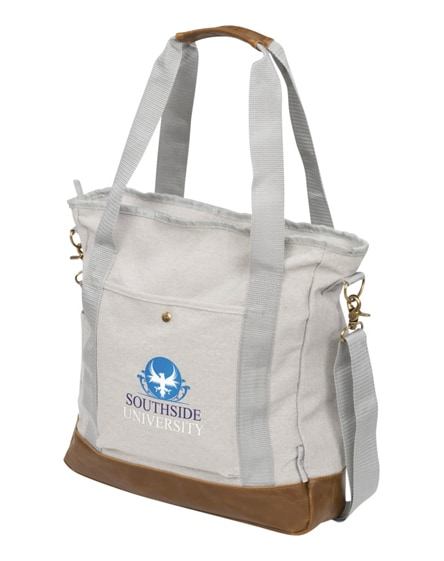 branded harper zippered cotton canvas tote bag