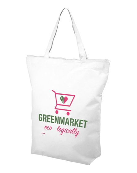 branded privy zippered short handle non-woven tote bag