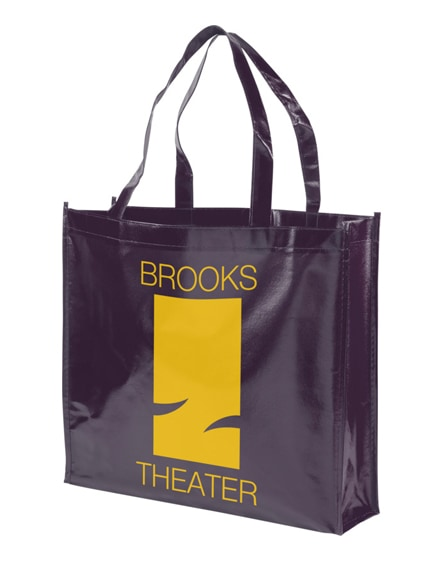 branded shiny laminated non-woven shopping tote bag