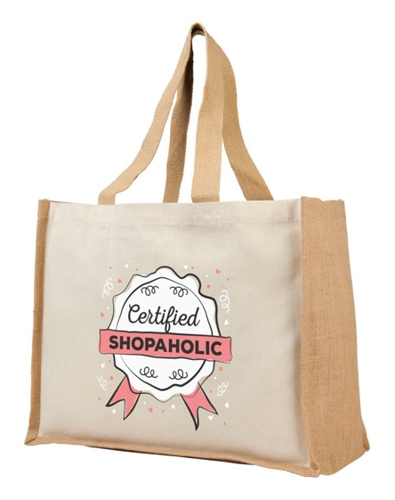 branded varai 340 g/m² canvas and jute shopping tote bag