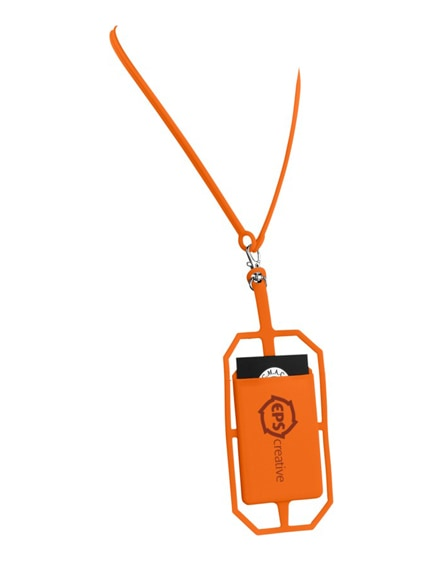 branded fort-rock silicone rfid card holder with lanyard