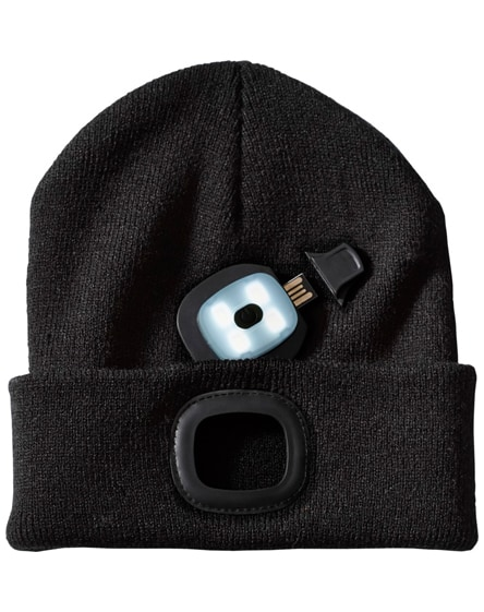 branded mighty led knit beanie, black