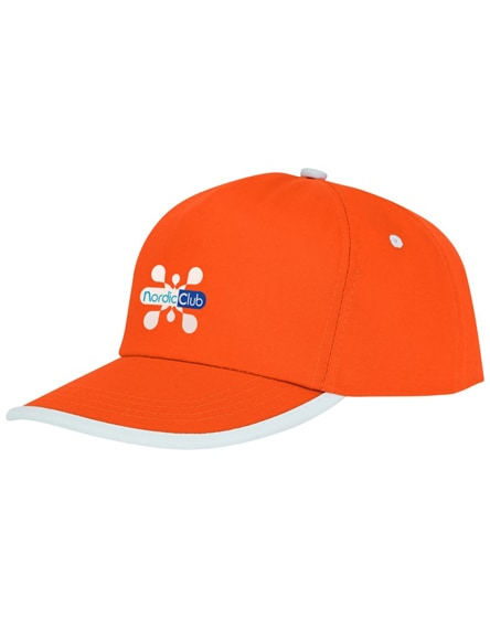 branded nestor 5 panel cap with piping