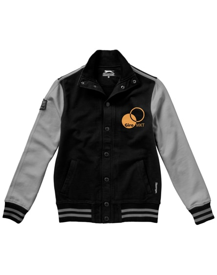 branded varsity sweat jacket