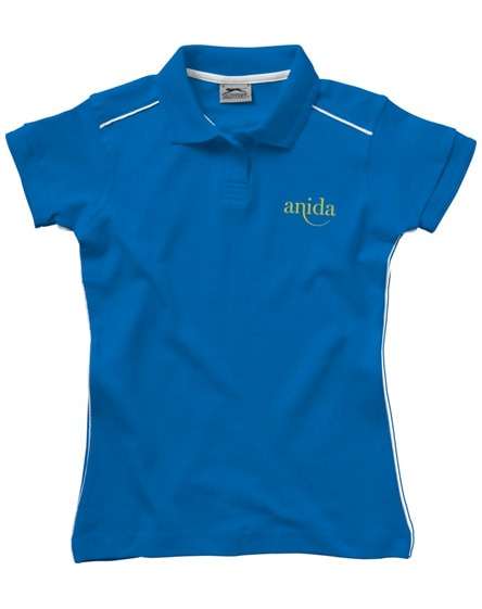branded backhand short sleeve ladies polo