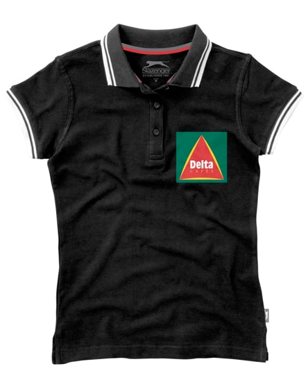 branded deuce short sleeve women's polo with tipping