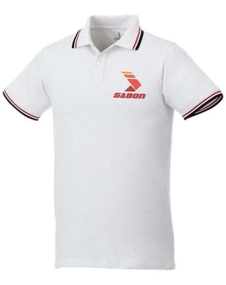 branded fairfield short sleeve men's polo with tipping