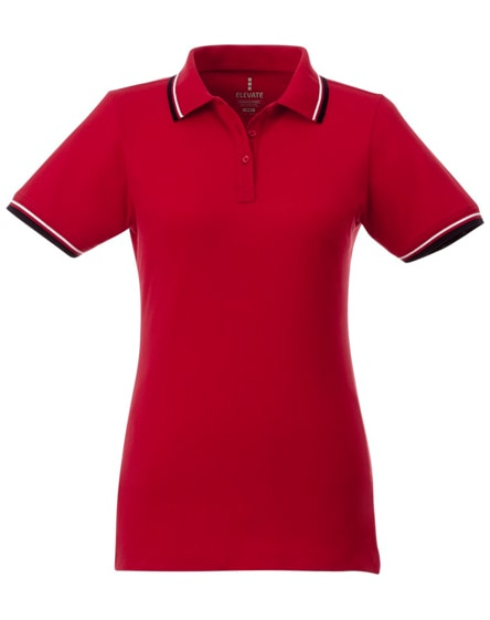 branded fairfield short sleeve women's polo with tipping