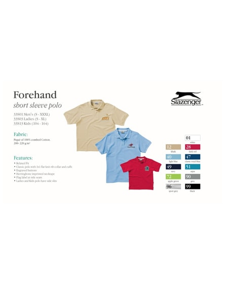 branded forehand short sleeve kids polo