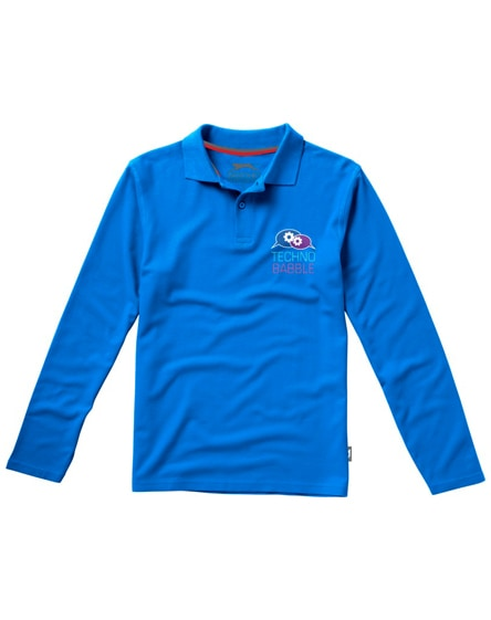 branded point long sleeve men's polo