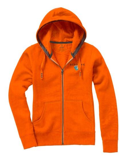 branded arora hooded full zip ladies sweater