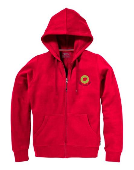 branded open full zip hooded ladies sweater