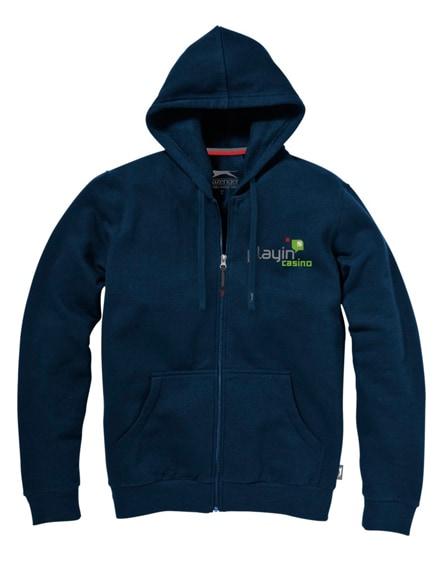 branded open full zip hooded sweater