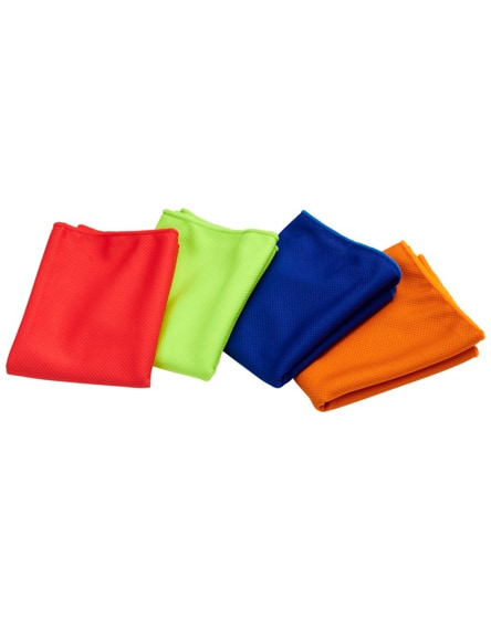 branded peter cooling towel in mesh pouch