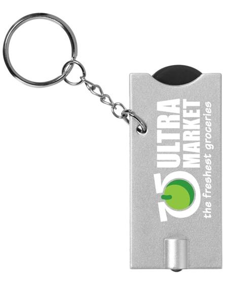 branded allegro led keychain light with coin holder
