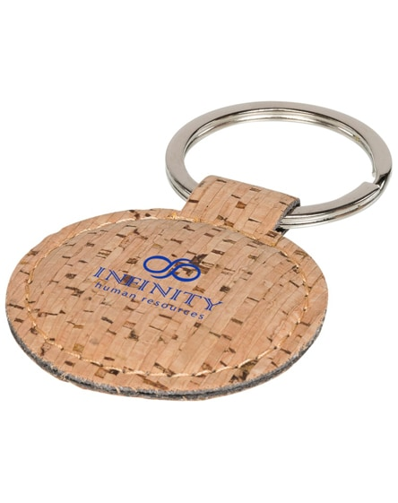 branded cork-look rounded keychain