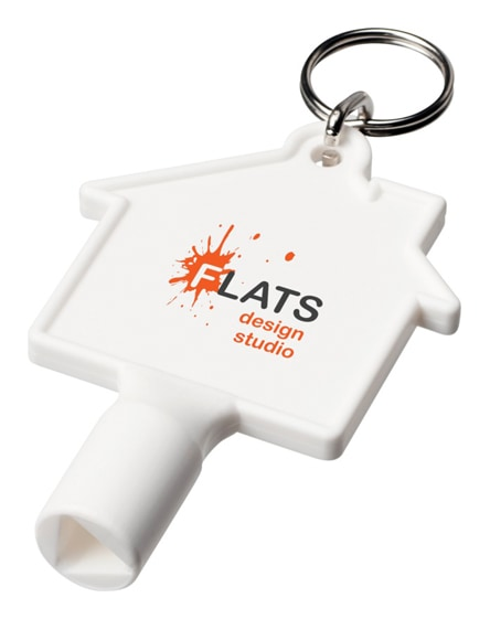 branded maximilian house-shaped meterbox key with keychain