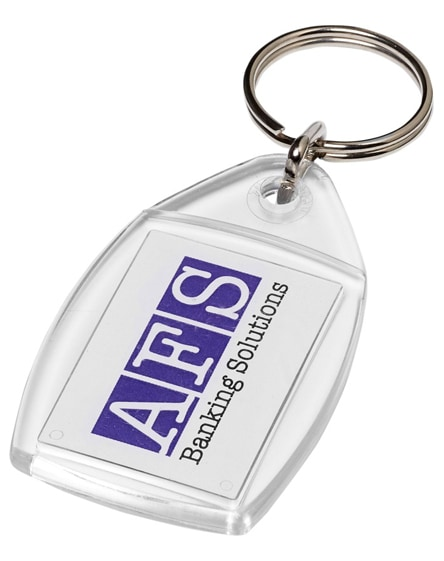 branded rhombus p4 keychain with plastic clip